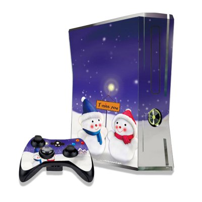 Cute Children Snowman Figure Pattern Game Consoles Handle Stickers for Xbox 360S