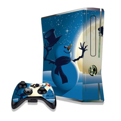 Snowman under Moonlight Figure Pattern Game Consoles Handle Stickers for Xbox 360S
