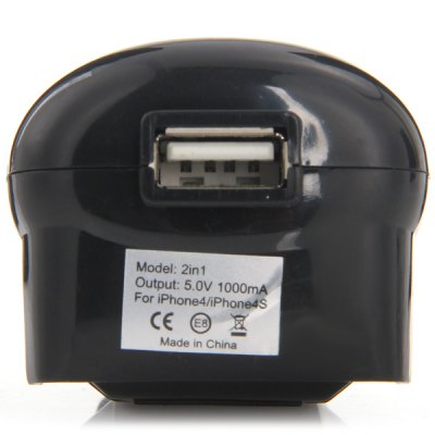 Фотография Portable EU Plug Power Adapter with Mobile Phone Car Charger for iPhone 6 / 6 Samsung etc.