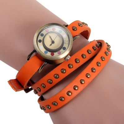 Здесь можно купить   Female Quartz Watch with Long Rivet Leahter Strap Colorful Dots
