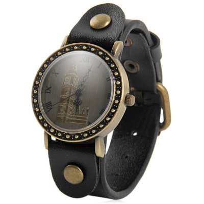 Retro Women Quartz Big Ben Watch with Round Dial Leather Strap