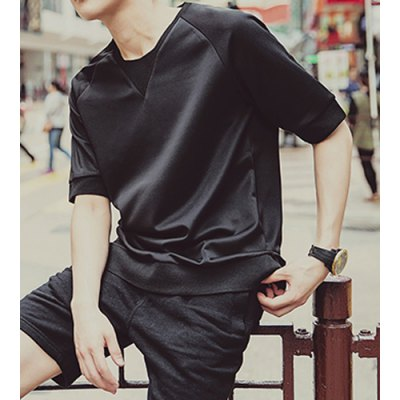 Гаджет   Novel Personality Round Neck Splicing Loose-Fitting Solid Color Short Sleeves Men