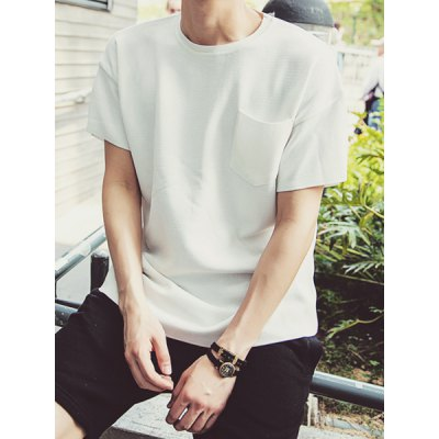 Гаджет   Concise Round Neck Fashion Pocket Loose Fit Solid Color Short Sleeves Men