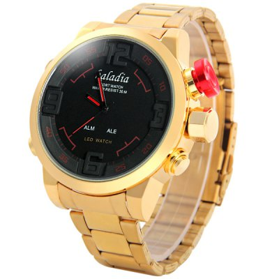 Фотография kaladia 8918 Double Movt LED Digital Quartz Watch with Large Dial Gold Steel Band Week Calender for Men