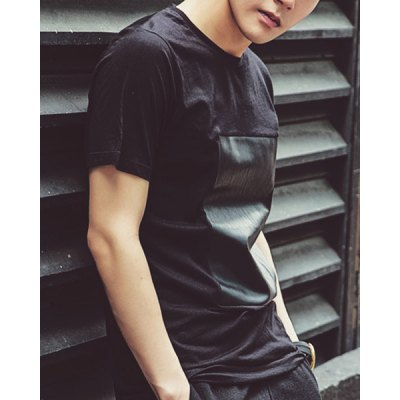 Гаджет   Fashionable Round Neck PU Leather Personality Splicing Loose Fit Short Sleeves Men