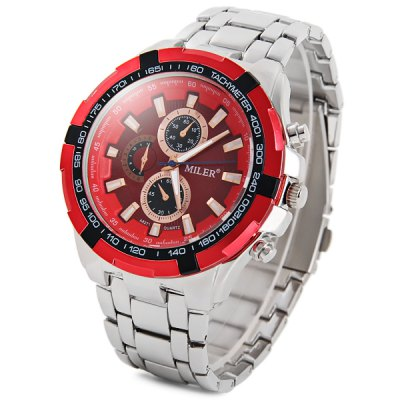 Miler A8271 Decorative Sub - dials Male Quartz Watch Stainless Steel Body Wristwatch