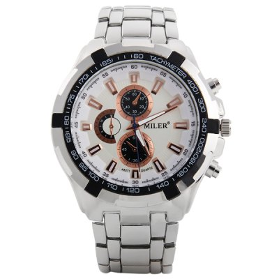 Фотография Miler A8271 Decorative Sub - dials Male Quartz Watch Stainless Steel Body Wristwatch