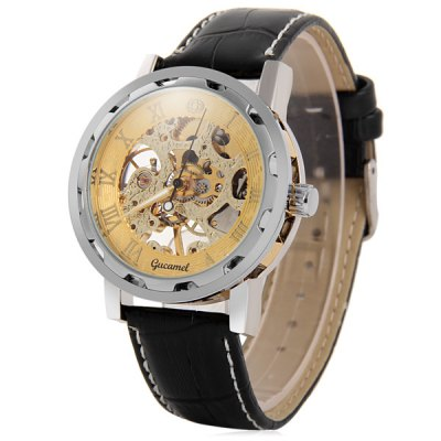Фотография Gucamel 021 Analog Mechanical Watch Hollow - out Design Wristwatch for Men