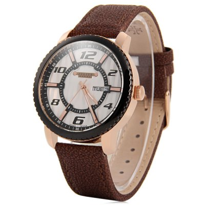 Фотография Julius 085 Day Date Display Unisex Quartz Watch Genuine Leather Band Wristwatch