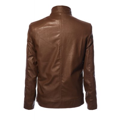 Гаджет   Stylish Solid Color Stand Collar Pocket and Zipper Design Slimming Long Sleeves Men