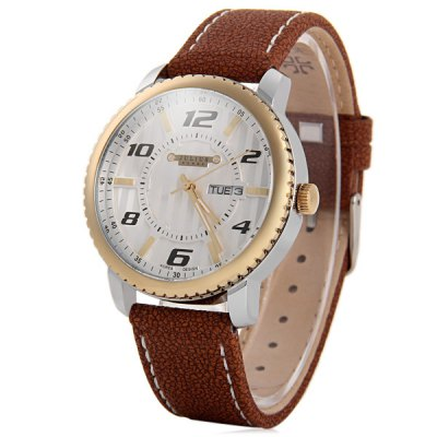 Julius 085 Day Date Display Unisex Quartz Watch Genuine Leather Band Wristwatch
