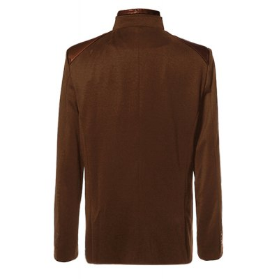 ФОТО Stylish Stand Collar PU Leather Splicing Slimming Color Block Long Sleeves Men
