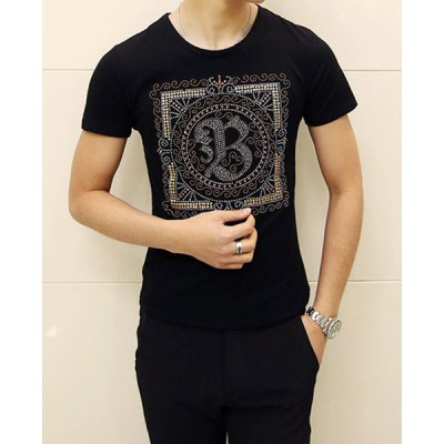 Гаджет   Classic Beads Design Pattern Round Neck Slimming Solid Color Short Sleeves Men