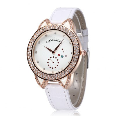 Emmanuel 2270 Diamond Lady Quartz Watch Leather Band Wristwatch