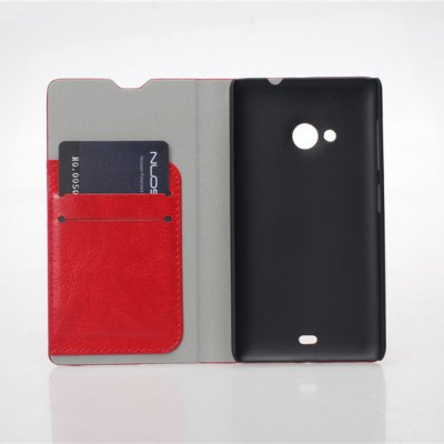 Фотография Crystal Grain Pattern PU and PC Material Card Holder Cover Case with Stand for Microsoft Lumia 535