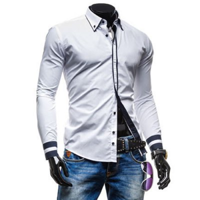 Гаджет   Leisure Turn-down Collar Classic Color Block Button Fly Slimming Long Sleeves Men