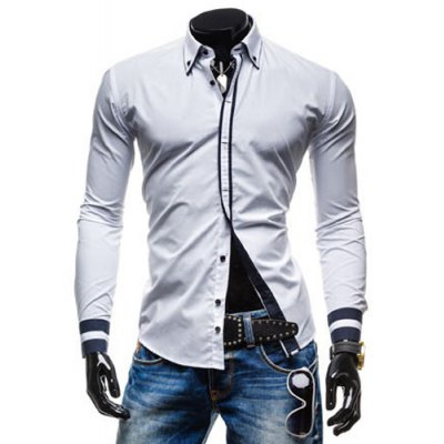 Leisure Classic Color Block Button Fly Long Sleeves White Shirt For Men