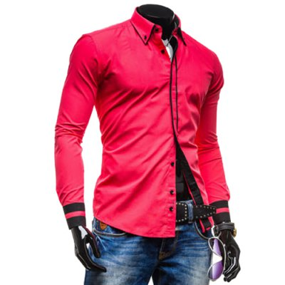 Leisure Turn-down Collar Classic Color Block Button Fly Slimming Long Sleeves Men
