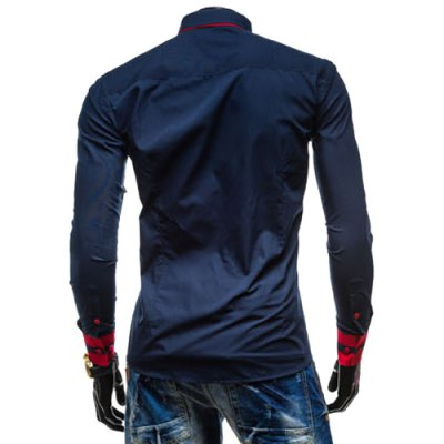 Фотография Leisure Turn-down Collar Classic Color Block Button Fly Slimming Long Sleeves Men