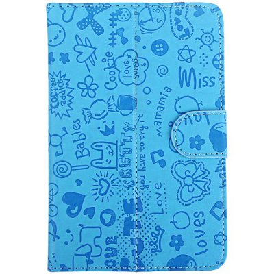 Фотография Folder PU Stand Leather Case with Cartoon Pattern for 7 inch Tablet PC - Black