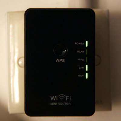 Фотография WR02 High Security 300Mbps Mini WiFi Router Repeater Wireless Signal Extender for Desktop Laptop ( AC 100  -  240V )