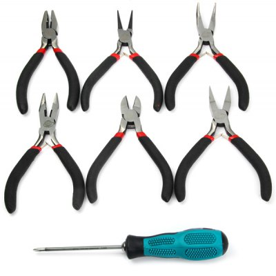 WLXY 7 in 1 Portable Pliers + Screwdriver Set Hand Tool Kit Plastic Handle for Making Jewellery