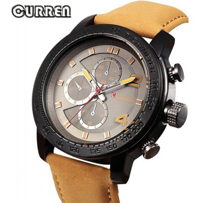 Curren 8190 Leather Band Fashion Dial Male Analog Quartz Watch