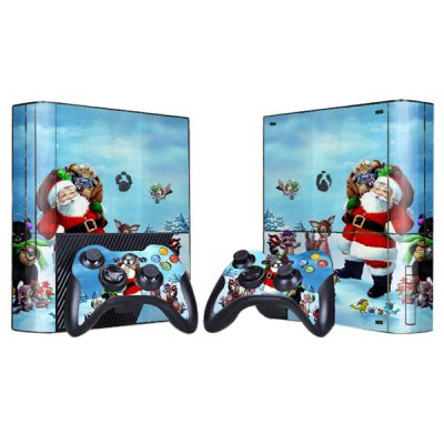 Cover Skin Stickers for 360E Game Console and Controllers with Santa Claus Pattern