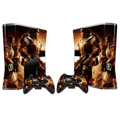 Cover Skin Stickers for 360S Game Console and Controllers with Gears of War 2 Figures Pattern