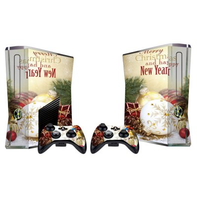 Cover Skin Stickers for 360S Game Console and Controllers with Christmas Scene Pattern