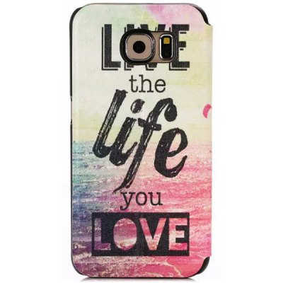 ФОТО Stand Design Letters Pattern Protective Cover Case of PU and PC Material for Samsung Galaxy S6 G9200