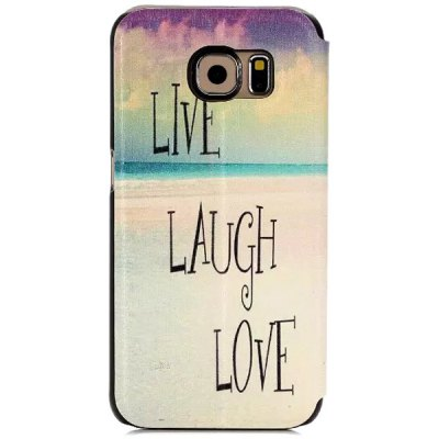 Гаджет   Stand Design Letters Pattern Protective Cover Case of PU and PC Material for Samsung Galaxy S6 G9200 Samsung Cases/Covers