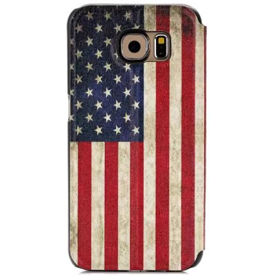 ФОТО Stand Design The Stars and Stripes Pattern Protective Cover Case of PU and PC Material for Samsung Galaxy S6 G9200