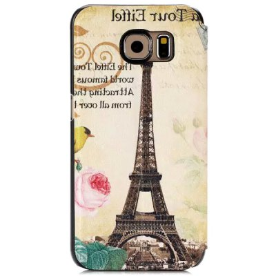 ФОТО Stand Design Iron Tower Pattern Protective Cover Case of PU and PC Material for Samsung Galaxy S6 G9200