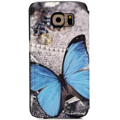 ФОТО Stand Design Butterfly Pattern Protective Cover Case of PU and PC Material for Samsung Galaxy S6 G9200