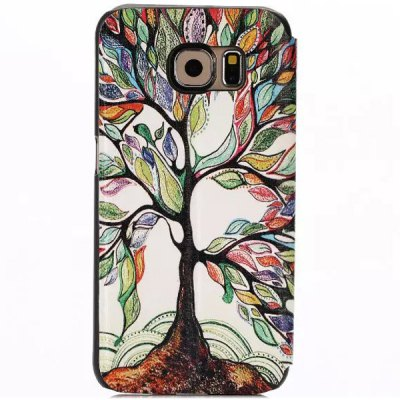 ФОТО Stand Design Colorful Tree Pattern Protective Cover Case of PU and PC Material for Samsung Galaxy S6 G9200