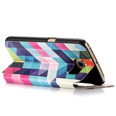 Фотография Stand Design Colorful Grid Pattern Protective Cover Case of PU and PC Material for Samsung Galaxy S6 G9200
