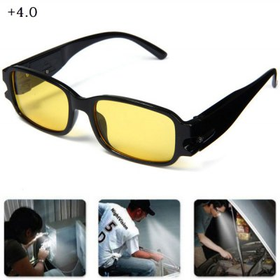 LED Reading Glasses Eyeglass +4.0 Diopter Magnifier