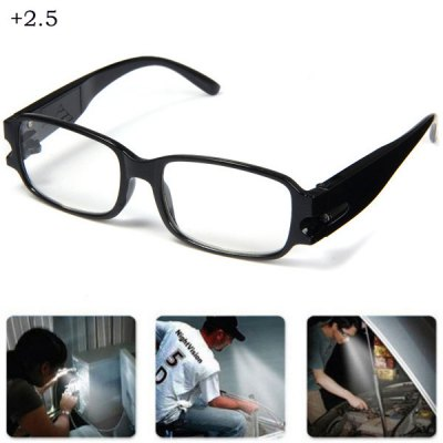 LED Reading Glasses +2.5 Diopter Magnifier Currency Detect Function Eyeglass