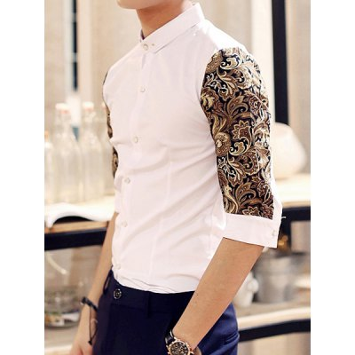ФОТО Laconic Turn-down Collar Slimming Color Block Print Half Sleeves Splicing Men