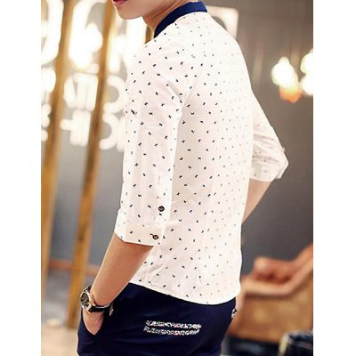 Slimming Trendy Color Block Turn-down Collar Cartoon Horse Print 3/4 Sleeves Men