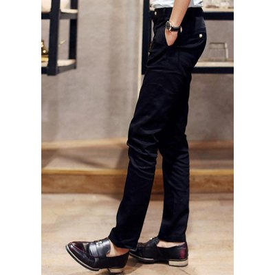 Гаджет   Casual Solid Color Zipper Fly Slimming Metal Button Embellished Straight Leg Men