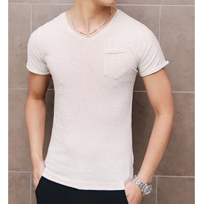 Гаджет   Simple V-Neck Slimming Solid Color Pocket Embellished Short Sleeves Men