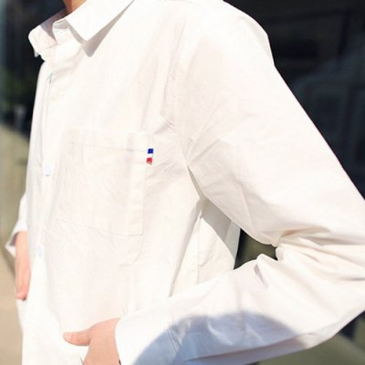 Фотография Stylish Shirt Collar Slimming Multi-Pocket Ribbon Design Long Sleeve Polyester Shirt For Men