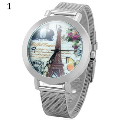 Tower Style Female Quartz Watch with Steel Net Band