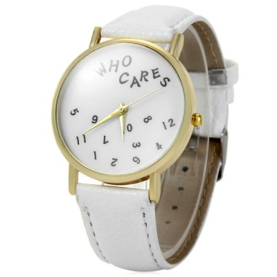 Leather Band Unisex Quartz Watch with Numbers Dial