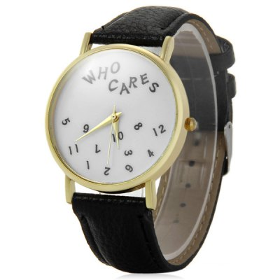 Фотография Leather Band Unisex Quartz Watch with Numbers Dial