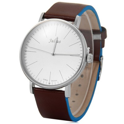 Julius 814 Male Contracted Quartz Watch Leather Band Wristwatch