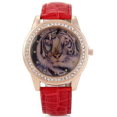 Фотография Kaladia 8926 Diamond Bezel Women Quartz Watch Tiger Pattern Leather Band