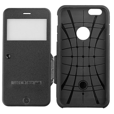 Фотография Soft TPU and PC Material Sliding Answer Protective Cover Case with View Window for iPhone 6 Plus  -  5.5 inch